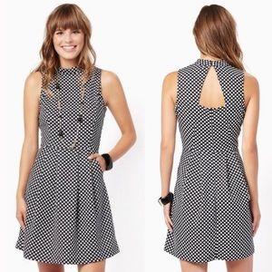 Mod Squad Fit & Flare Open Back Polka Dot Dress